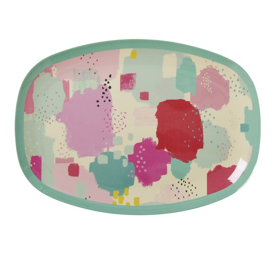 Rice Rectangular Melamine Plate with Splash Print