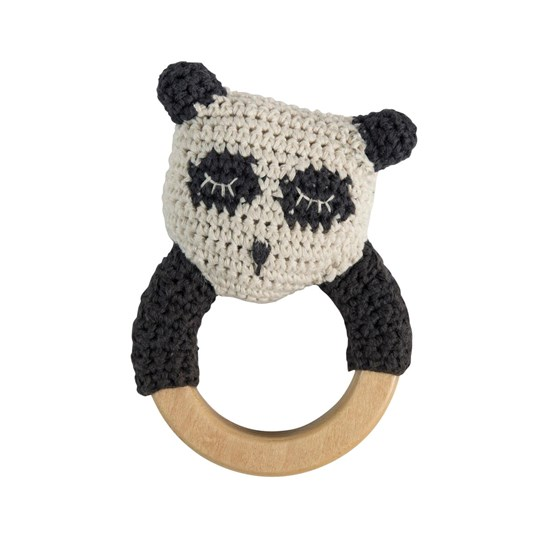 sebra Crochet Rattle Panda on Wooden Ring