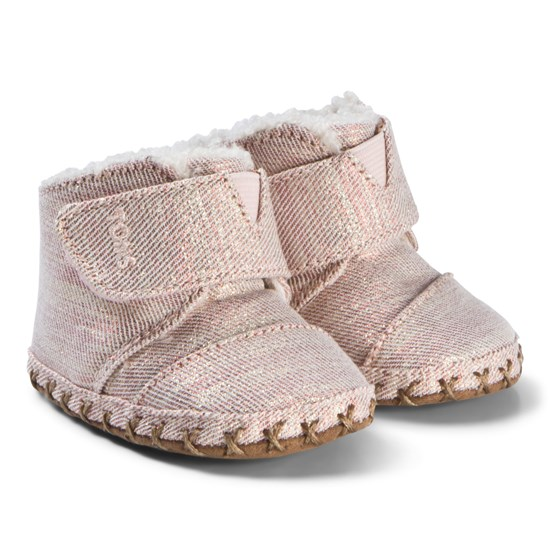 Toms Lurex Faux Shearling Lined Babysko Rose Cloud