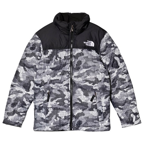 The North Face Black Textured Camo Print Nuptse Down Jacket