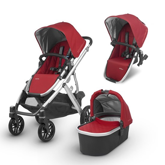UPPAbaby Paket VISTA 2018 Barnvagn Denny Red + VISTA 2018 Syskonsits Seat Denny Red