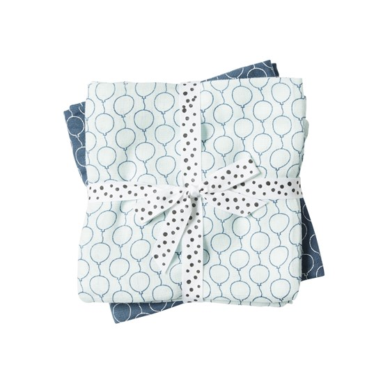 Done by Deer Burp Cloth, 2-pack, Balloon, Blue