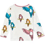 Småfolk Cream Multi Parrot Print Long Sleeve Tee