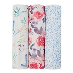 Aden + Anais Pack of 3 Pink Watercolour Garden Silky Soft Swaddles