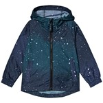 Lands' End Navy Galaxy Print Packaway Rain Jacket