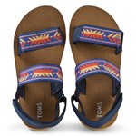 Toms Navy Ray Patterned Velcro Sandals