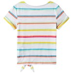 Lands' End White Multi Stripe Tie Front Tee