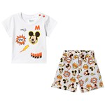 Disney Mickey Mouse Mickey Mouse Ss Baby Set White, Light Grey Melange