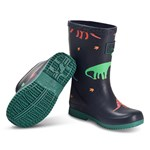 Joules Navy Dinos Roll Up Packable Wellies