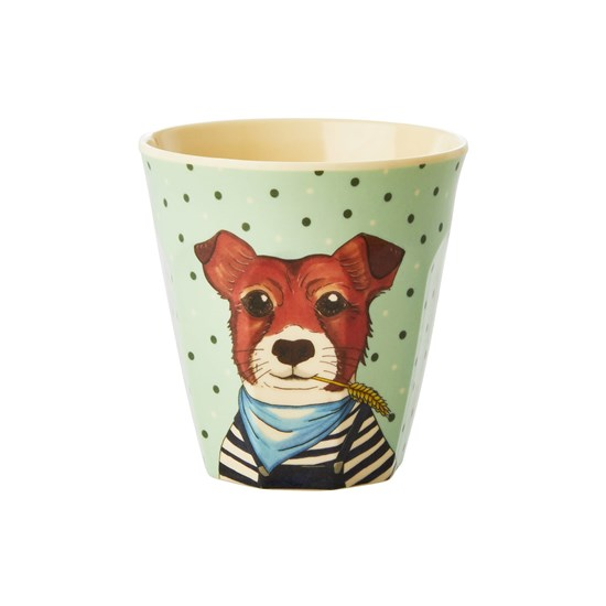 Rice Melamine Kids Cup with Farm Animals Print - Green - Small