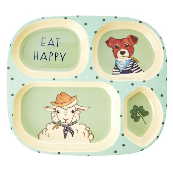 Rice Melamine Kids 4 Room Plate with Farm Animals Print - Green