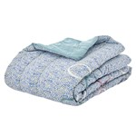 Rice Cotton Quilt with Small Flower Print and Circle Application Blue