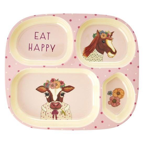 Rice Melamine Kids 4 Room Plate with Farm Animals Print - Pink