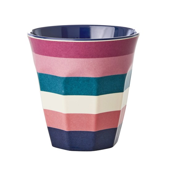 Rice Melamine Cup with Stripe Print Medium