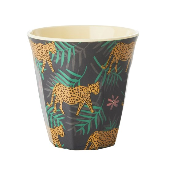 Rice Melamine Cup with Leopard and Leaves Print Medium