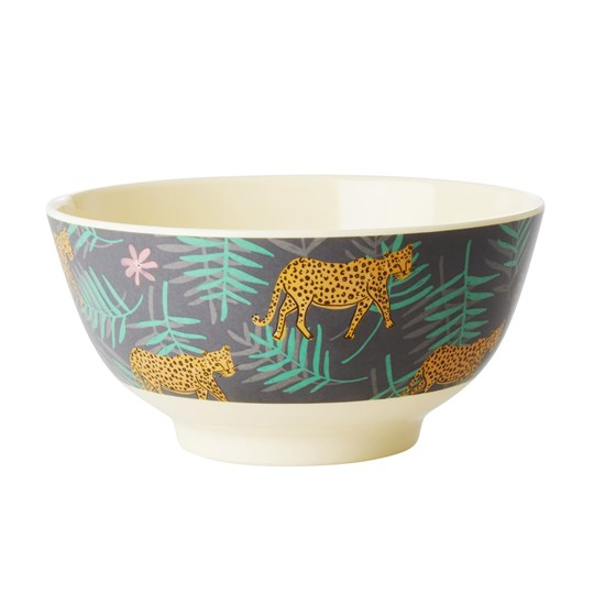Rice Melamine Bowl with Leopard and Leaves Print Medium