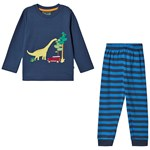 Frugi Navy Organic Dinosaur Pyjamas with Blue Stripe Bottoms