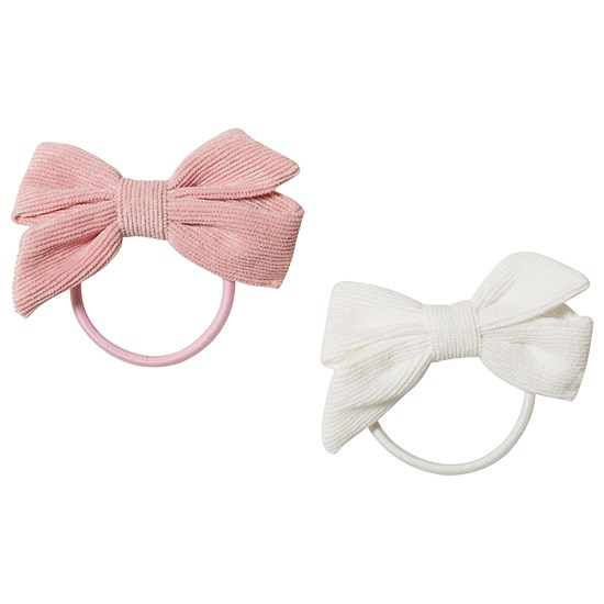 Ciao Charlie Hair Tie w Corduroy Bow Light Pink/White