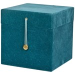 Christmas Kids Storage Box With Buttons Velvet Blue 3- Pack