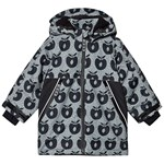 Småfolk Black Apple Print Fleece Lined Winter Coat