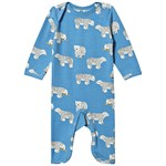 Småfolk Blue Polar Bear Print Footless Babygrow