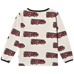 Småfolk Cream Fire Engine Print Long Sleeved T-shirt