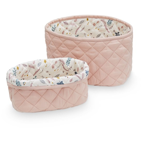 Cam Cam Quilted Storage Basket Set of Two  Blossom Pink