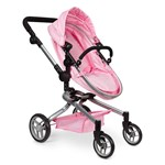 STOY Dolls Pram 2-in-1 Pink on Pink
