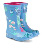 Joules Blue Botanical Print Roll Up Wellies