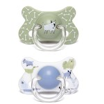 Suavinex Basic Fusion Anatomical Silicone Pacifier 2 Pk 18 m+ Dogs Green