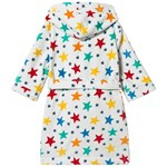 Frugi White Organic Hooded Bath Robe with Rainbow Stars