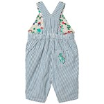 Frugi Organic Reversible Dungarees in Blue Stripe and Dinosaur Appliqué