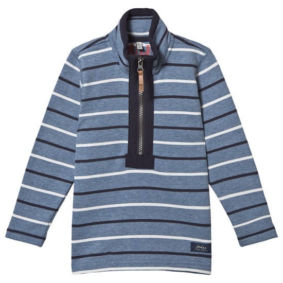 Joules Blue Salt Wash Dale Stripe Half Zip Sweatshirt