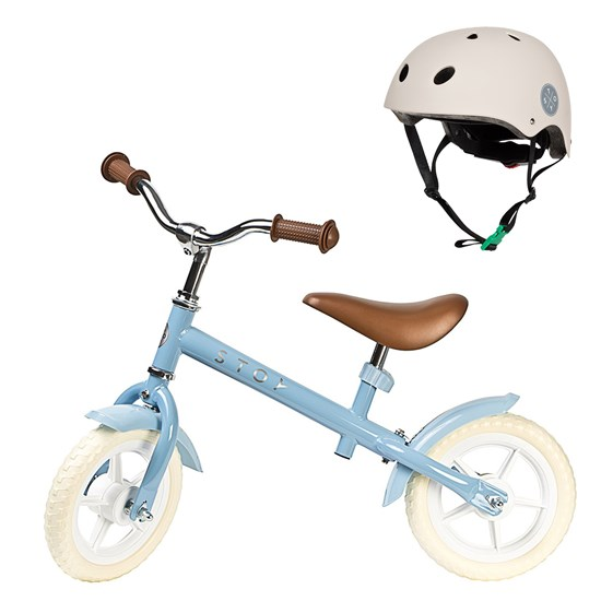 Balance Bike 10 and Helmet Light Blue/Beige