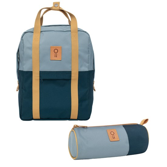 Oii Backpack and Pencil Case Sage Grey/Pond Water
