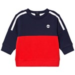 Timberland Navy and Red Contrast Tree Logo Sweatshirt