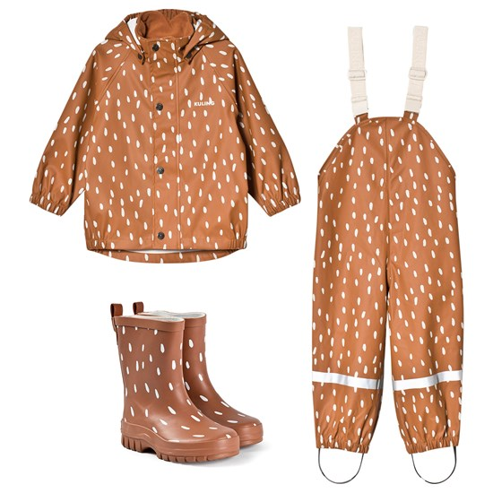 Kuling Rain Set and Caracas Rubber Boots Dots Brown