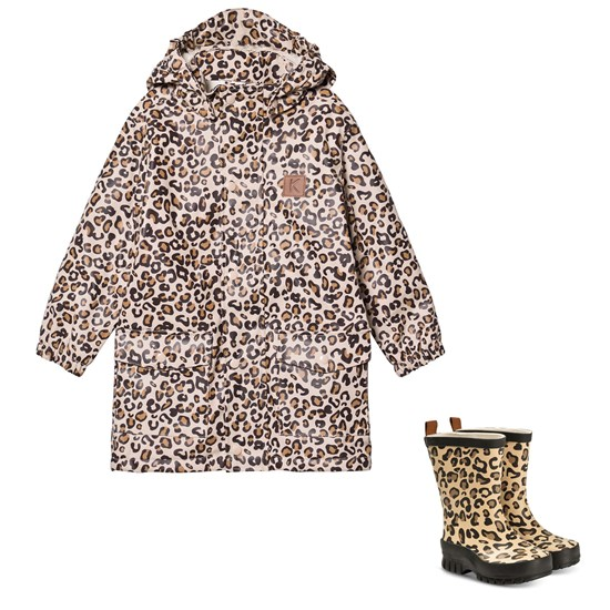 Kuling Girwood Rain Coat w Pile and Rubber boots Leopard