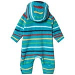 Frugi Blue Stripe Recycled Fleece Hooded All in One
