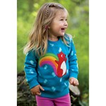 Frugi Jump About Collegegenser Teal Acorn Leaves