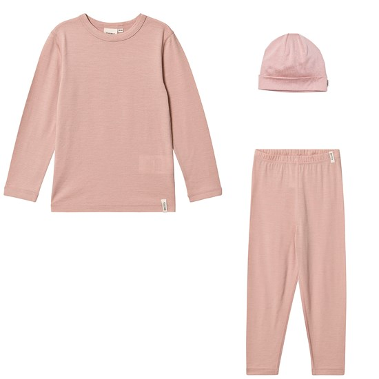 Kuling Wool Shirt L/S, Wool Pants and Wool Hat Pink