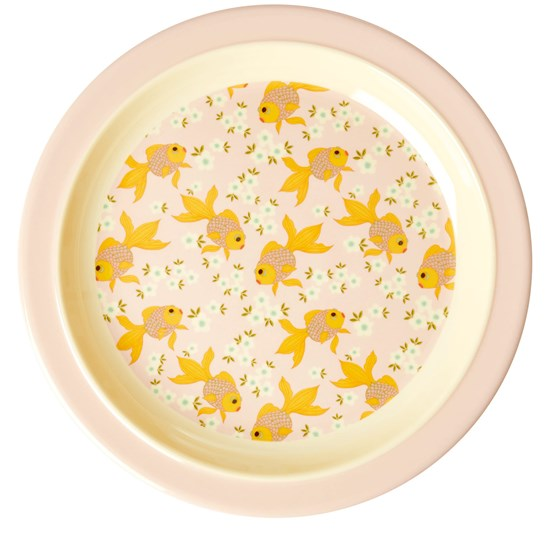 Rice Melamine Kids Lunch Plate with Goldfish Print