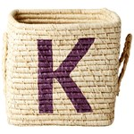 Rice Raffia Square Basket with Painted Letter K
