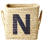 Rice Square Raffia Basket with Painted Letter N