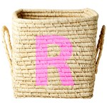 Rice Raffia Square Basket with Painted Letter R