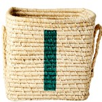 Rice Raffia Square Basket with Painted Letter I